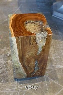 18 H heavy Stool side table accent solid wood smooth cracked resin modern 110f