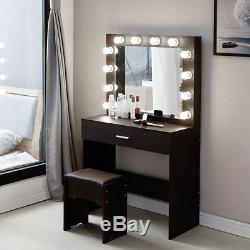 2020 New Vanity Set With Lighted Mirror Cushioned Stool Dressing Table Bedroom