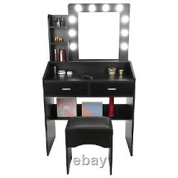 2 Drawers Vanity Set Makeup Dressing Table with 10 LED Lights with Stool&Mirror