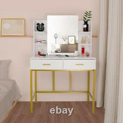 2 Drawers Vanity Set Makeup Dressing Table with 6 Shelves with Stool & Mirror