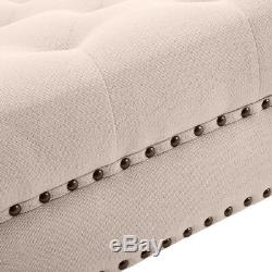 33 Ottoman Coffee Table Bench Stool Tufted Foot Modern Button Square Beige