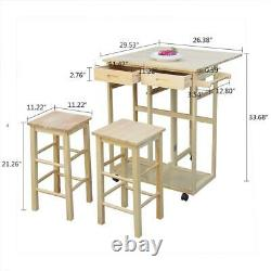 3PCS Fold Dining Table Solid Wood Kitchen Rolling Casters2 Drawers With 2 Stool