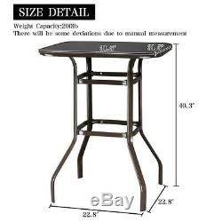 3PCS Outdoor Patio Furniture Swivel Bar Chairs Stools High Bistro Bar Table Set