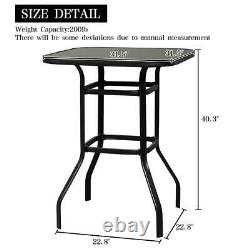 3PCS Patio Bar Set 2 Swivel Stools and Height Outdoor Indoor Pool Bistro Table