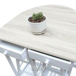 3PCS Pine Wood Dining Table Set Kitchen Island Trolley Cart with 2 Stools White
