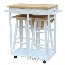3PCS Wood Dining Table Set Kitchen Island Trolley Cart with 2 Stools and Wheels