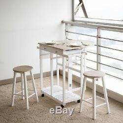 3PCS Wood Kitchen Dining Table Set with 2 Stools Folding Trolley Wheel Pub Cart