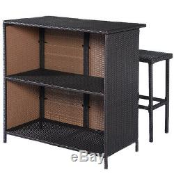3PC Outdoor Rattan Wicker Bar Set Patio Outdoor Table & 2 Stools Furniture Brown