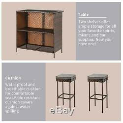 3PC Outdoor Wicker Bar Set Patio Furniture Table & 2 Stools withCushions Brand New