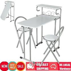 3Pcs Breakfast Bar Set With Foldable Table Chairs Dining Kitchen Stool Furniture