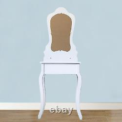 3 Drawer Vanity Table Set Dressing Table with Cushioned Stool Makeup Table White