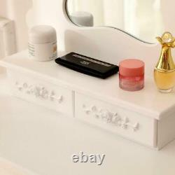 3 Drawers Mirrors Vanity Makeup Dressing Table Set With Stool Wood Desk White