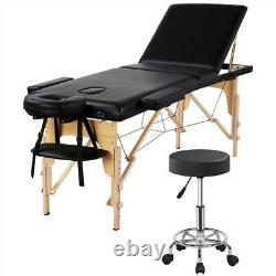 3 Folding Portable Massage Table with Rolling Stool Adjustable Salon Bed Chair