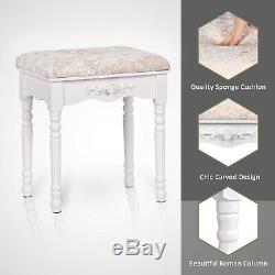 3 Mirrors 5 Drawers Vanity Makeup Table Dressing Desk Set Cushioned Stool White