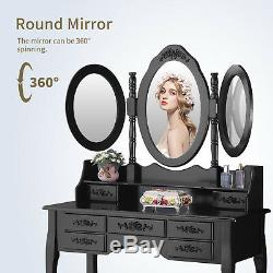 3 Mirrors 7 Drawers Makeup Dressing Table Desk Vanity Set with Stool Black