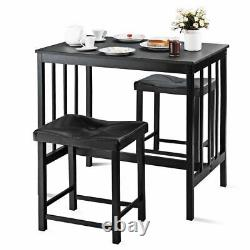 3 PCS Modern Counter Height Dining Set Table And 2 Chairs Kitchen Bar Furniture