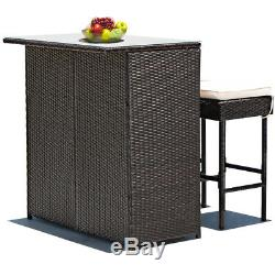 3 PCS Patio Rattan Wicker Bar Table Stools Dining Set Cushioned Chairs Outdoor