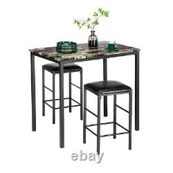 3 PCS Table Set Faux Marble Counter Home Kitchen Bar Dining Table with 2 Stools