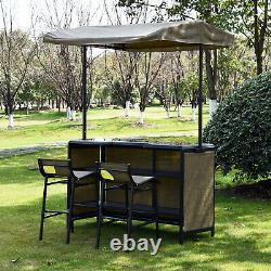 3 PC Outdoor Patio Mesh Cloth Canopy Bar Table Chairs Stools Storage Set