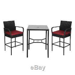 3 PC PE Wicker Height Bar Stools Table Set Patio Bistro Pool Outdoor Furniture