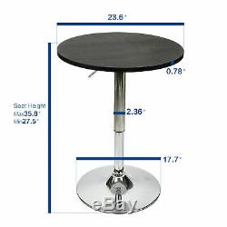 3 Piece Bar Table Set Round Bistro Bar Stools Counter Chairs Dining Kitchen Pub