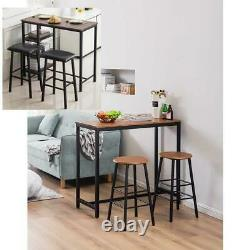 3 Piece Bar Table Set with 2 Stools Bistro Pub Kitchen Dining Furniture 3 Size