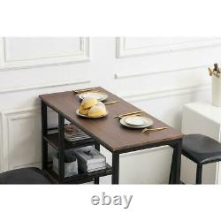 3 Piece Bar Table Set with 2 Stools Bistro Pub Kitchen Dining Furniture Brown US