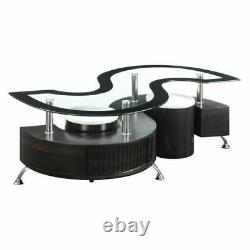 3-Piece Contemporary Delange Coffee Table And Stools Set Cappuccino 720218