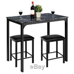 3 Piece Counter Height Dining Set Faux Marble Table 2 Chairs Kitchen Bar Black