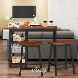 3-Piece Counter Height Dining Table Set with2 Saddle Stools&Storage Shelves Walnut