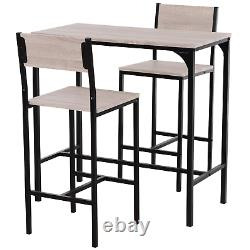 3 Piece Dining Table Chairs Set Compact Small Space Breakfast Bar Stools Kitchen