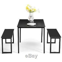 3 Piece Dining Table Set 2 Chairs Bench Kitchen Dining Room Breakfast Nook Black