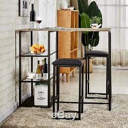 3 Piece Dining Table Set With 2 Stools Kitchen Dining Room Breakfast Nook