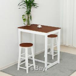 3 Piece Pine Wood Dining Table Set 2 Chairs Pub Kitchen Room Breakfast Furniture