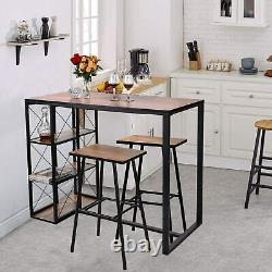 3 Piece Pub High Dining Set with 3 Storage Shelves Table with 2 Bar Stools Set