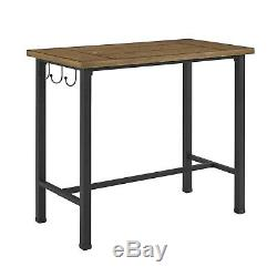 3 Piece Pub Set with Bar Stool and Pub Table Kitchen Breakfast Nook Wood & Metal