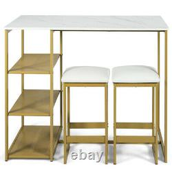 3 Piece Pub Set with Faux Marble Top Bar Table and 2 Stools Dining Set Industrial