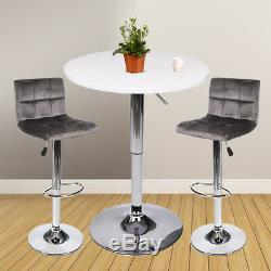3 Piece Pub Table Set Bar Stools Bistro Adjustable Counter Height Dining Combo