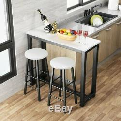 3 Piece Pub Table Set Bar Stools Dining Kitchen Furniture Counter Height Chairs