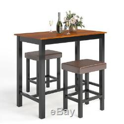 3 Piece Pub Table Set Counter Height Kitchen Breakfast Bar Dining Table 2 Stools