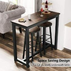 3-Piece Rustic Pub Table Set, Counter Height Breakfast Bar Table with Stools