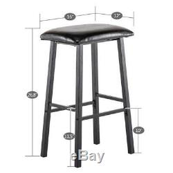 3 Piece Set Pub Table Bar Stools Dining Furniture Counter Height Chairs Brown US