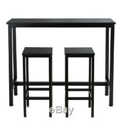 3 Pieces Bar Table Set Counter Height Breakfast Bar Dining Table withStools Black