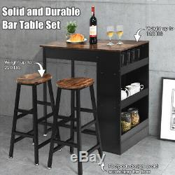 3 Pieces Bar Table Set Industrial Counter Height Dining Table Set with Storage