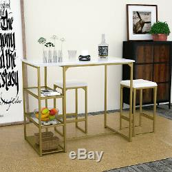 3 Pieces Pub Table Set with Faux Marble Top & 2 Cushioned Bar Stools Metal Frame
