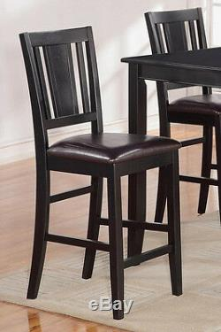 3pc counter height pub set table with 2 bar stool chairs faux leather seat black