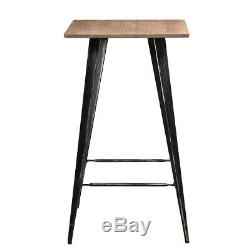 3pcs Bar Bistro Table Set With1 Table 2 Pub Stools Counter Chairs Wood Metal Set