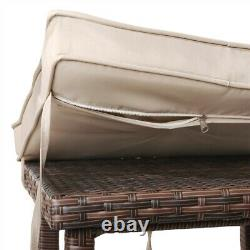 3pcs Conversation Set Patio Bar Furniture Rattan Table and Stools with Cushions