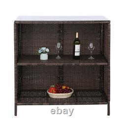 3pcs Patio Bar Set Outdoor Rattan Wicker Furniture table stools with Cushions Blue