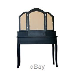 4 Drawer Vanity Table Set Dressing Table with Cushioned Stool Makeup Table Black